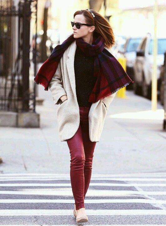 Emma Watson's street style. I love this so much. From her maroon leather pants to her scarf, to her jacket, to her gemstone headband and loafers. So awesome.