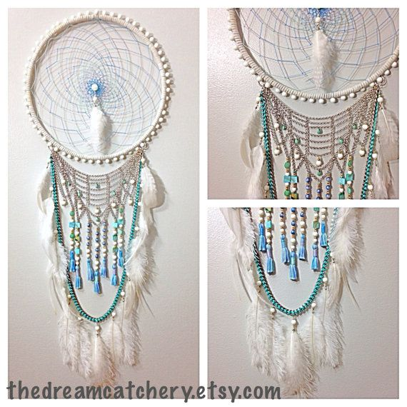 Azure White and Turquoise Blue DreamCatcher With Handmade Tassels, Silver Chains, and Natural Ostrich and Rooster Feathers