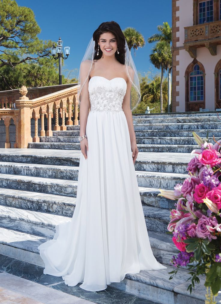 Sincerity Wedding Dress Style 3830 Chiffon A Line Highlighted With V Neck