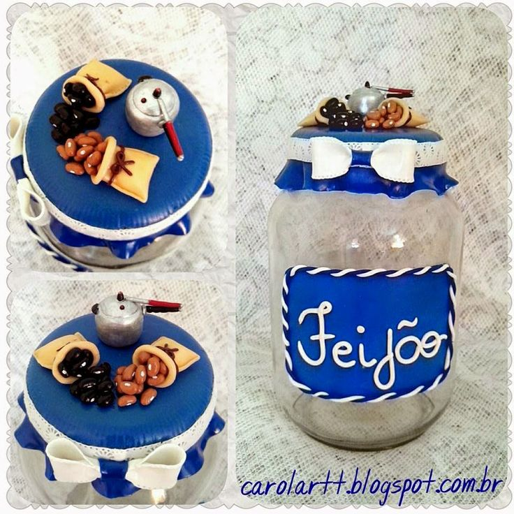 Carol'art: Potes para mantimentos decorado com biscuit.