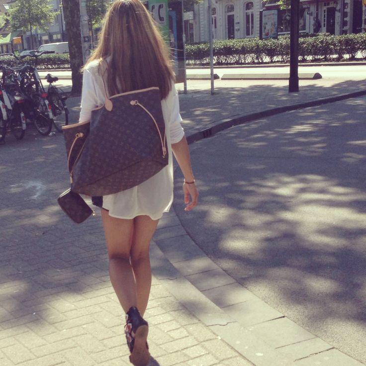 Zara sandals, Bershka sheerblouse & high waist short, Louis vuitton neverfull gm, Louis vuitton mini pochette