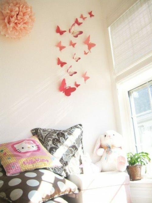 Mädchen Kinderzimmer-Schmetterlinge kreative Wandgestaltung