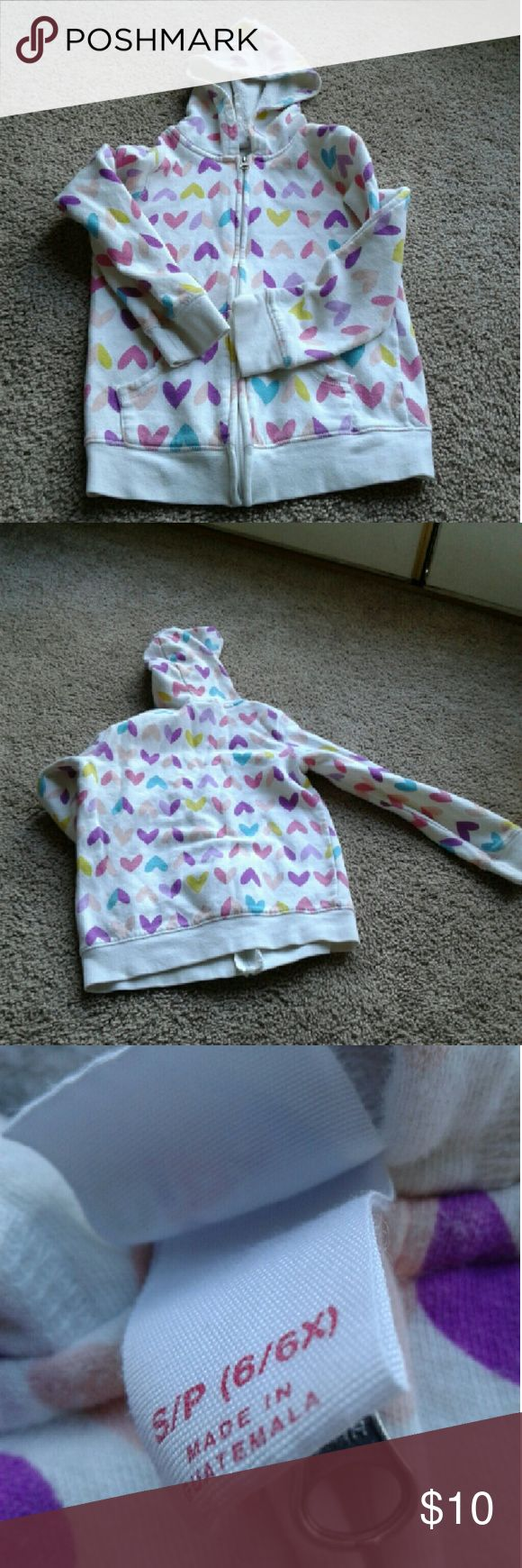 Sale ! 6 6x Zip Up Hoodie Sweater Jacket White with colorful rainbow hearts on it Size 6/6x zip up hoodie Jacket sweater hoodie Mint condition  White with purple, yellow, pink and blue hearts  I have two of these Shirts & Tops Sweatshirts & Hoodies