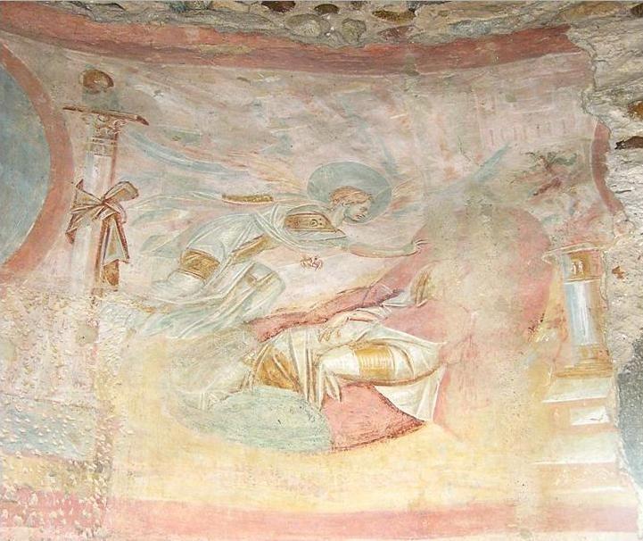 Chiesa di Santa Maria foris portas, Castelseprio, Lombardia. Gli affreschi del IX-X secolo. Alcuni studiosi (anche Lasarev) li attribuiscono al VII – VIII secolo, collegandoli agli affreschi di Santa Maria Antiqua a Roma