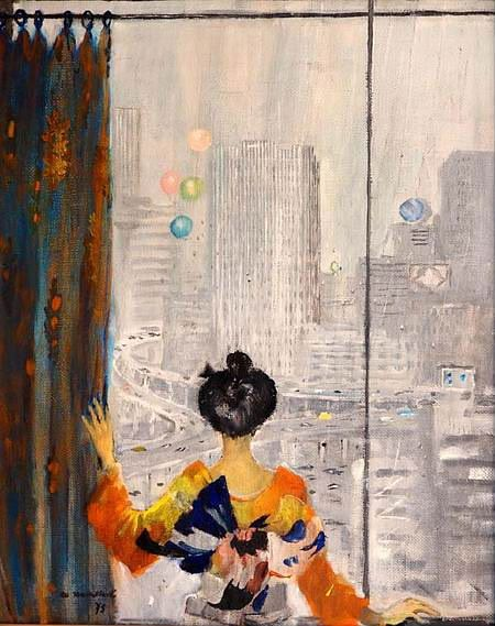 Tokyo window (1975) by Yury Pimenov Токийское окно. Юрий Пименов
