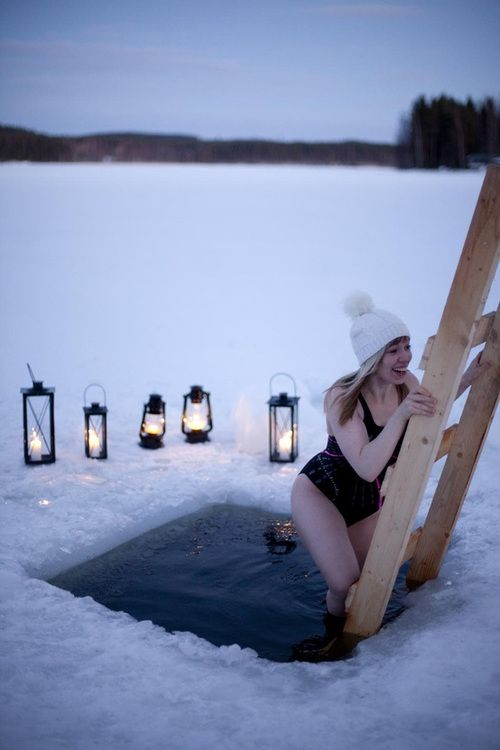 Finnish winter tradition, ice swimming.