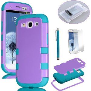 Amazon.com: Pandamimi ULAK 3 in 1 Purple Hybrid High Impact Case (Samsung Galaxy S3 At, Verizon, T-mobile And Sprint)+ Blue Silicon back cover for Samsung Galaxy S 3 III S3 i9300 + Screen protector + Stylus: Cell Phones & Accessories