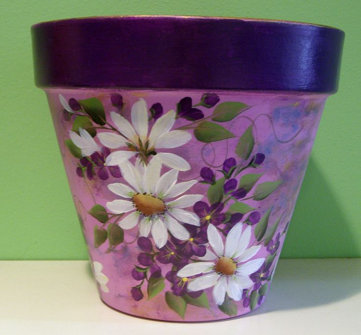 hand painted flowerpot painted by dori from purplepetals.net