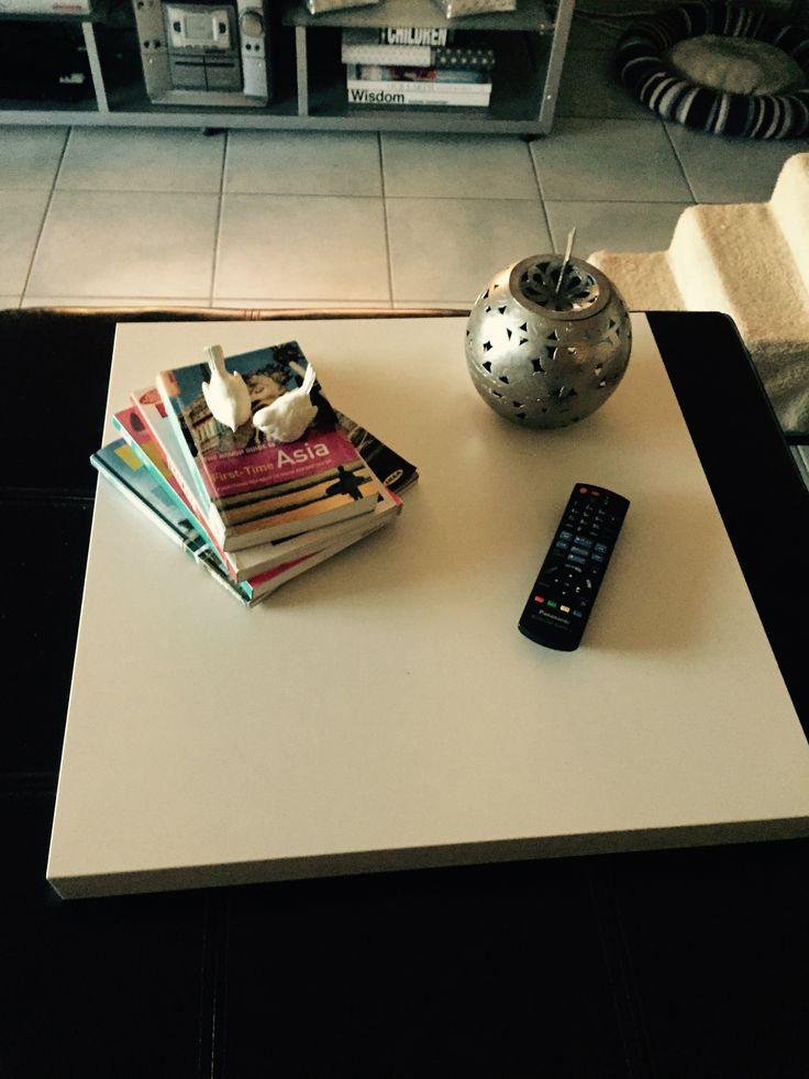 IKEA hack !! Needed tray 50x50 but soooo expensive. Lack coffee table $7.99.  Looks great !!