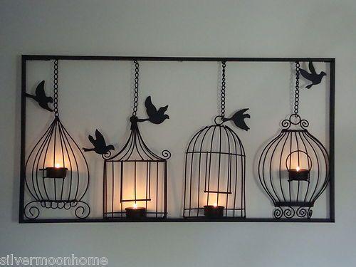 Bird Cage Wall Art, Tea Light Candle Holder, Black Metal