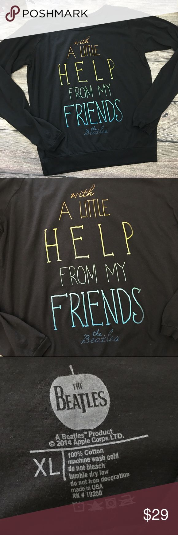 """Beatles Little Help from my Friends pullover XL From Apple's official Beatles Merch  clothing, this Beatles pullover has long sleeves and a great graphic of song lyrics. Graphic is perfect, banded hem and wrists, dark deep black color, cotton, approx 20"""" bust, 24"""" length when laid flat, size XL (H2) offers warmly welcomed. Beatles Apple Merch Tops Tees - Long Sleeve"""