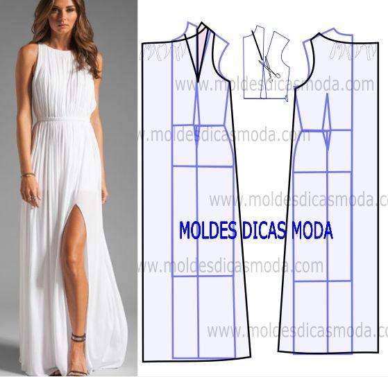 Observe com atenção a transformação do molde de vestido plissado comprido para poder fazer a leitura de forma correta. Desta forma simplifica o seu...