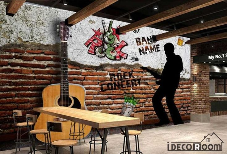 Damage Brick Wall 3D Guitar Silhouette Man Playing Guitar Restaurant Art Wall Murals Wallpaper Decals Prints Decor