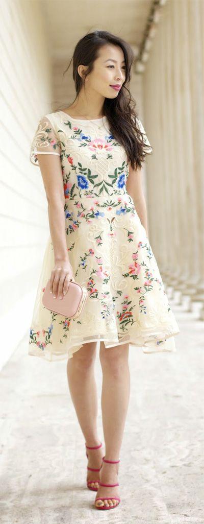 Gorgeous Garden Embroidered Organza Dress