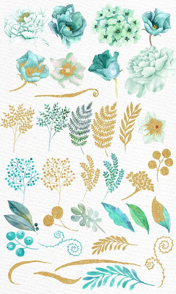 Gold Mint Flowers Clipart Watercolor Flowers Wedding Flowers