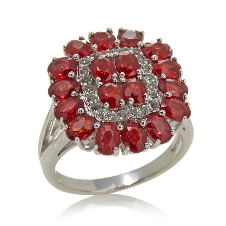 """Colleen Lopez """"Glitter & Cheer"""" 4.23ctw Red Sapphire & White Topaz Sterling Silver Ring"""