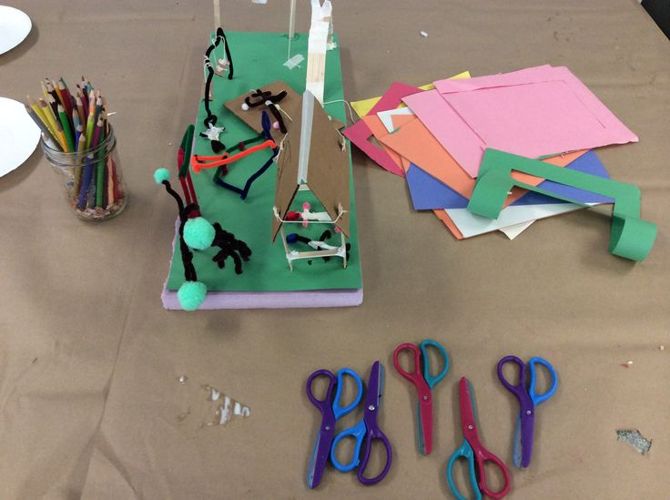 Inspired by John Dickson (Toronto) and Martin Golland (Ottawa) the Sr. Campers collaborated on a project about our future landscape. Materials: Styrofoam, stir sticks, felt paper, wire, fuzzy pom poms, newspaper, glue, beads, pipe cleaners, images of buildings, cardboard, tape.