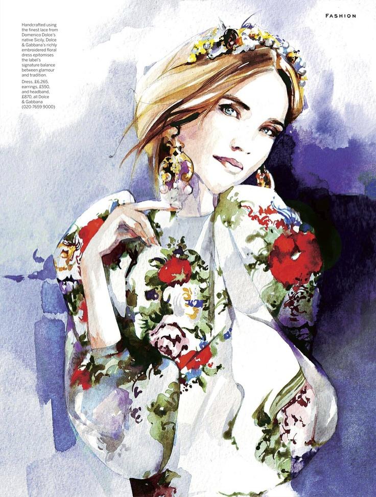 Illustration by Petra Dufkova in Stylist magazine December 2012