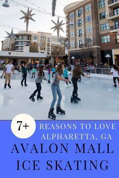 Avalon Mall has a gorgeous outdoor ice rink, close to restaurants and with a cozy fire area too. #AvalonMall #IceSkating #IceRink #Georgia #ThingsToDoinGeorgia