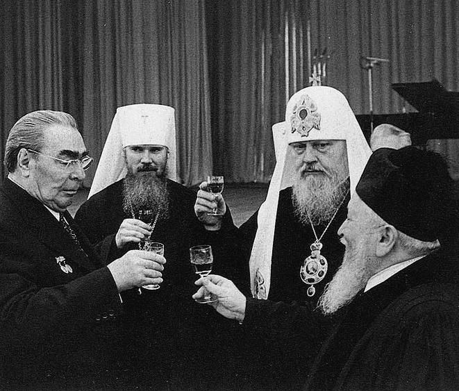 Brezhnev and priests, c.1977