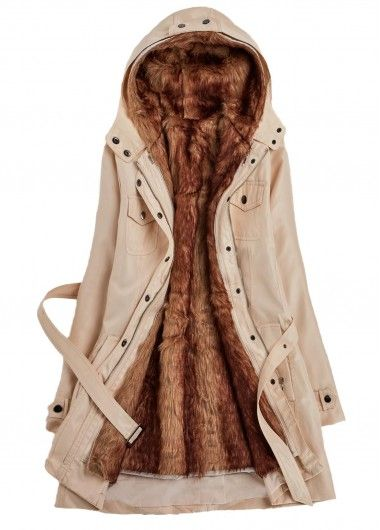 Hooded Collar Belt Design Faux Fur Pocket Coat