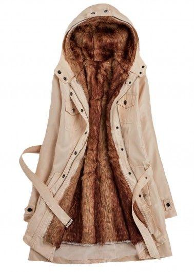 Beige Hooded Faux Fur Lined Parka Coat