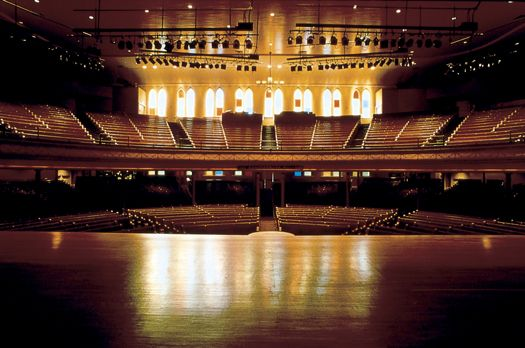 Looking out toward the audience at the Ryman Auditorium, Nashville, Tenn.
