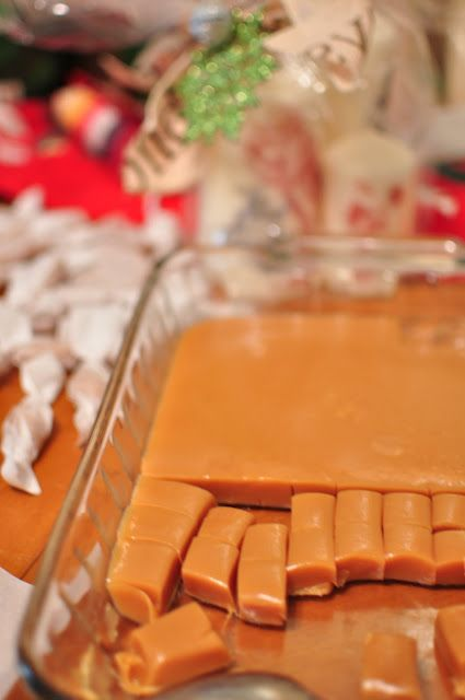 Homemade soft caramels.