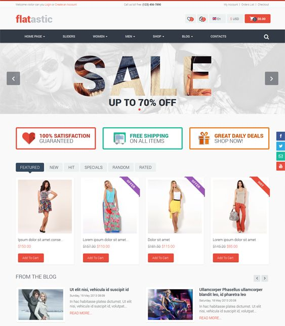 This VirtueMart template has Bootstrap integration, a responsive layout, Ajax price filtering, Revolution Slider, social sharing icons, unlimited colors, a banner manager, Google Web Fonts, Facebook and Twitter integration, product labels, and more.