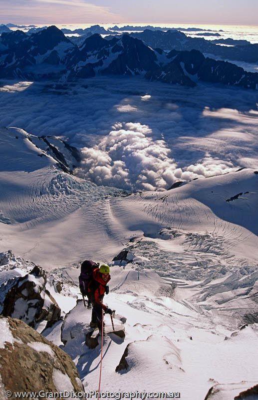 Mt Cook summit rocks view