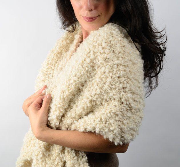 Americo Original / Megantic Bias Wrap - so much drama in our beautiful boucle yarn!