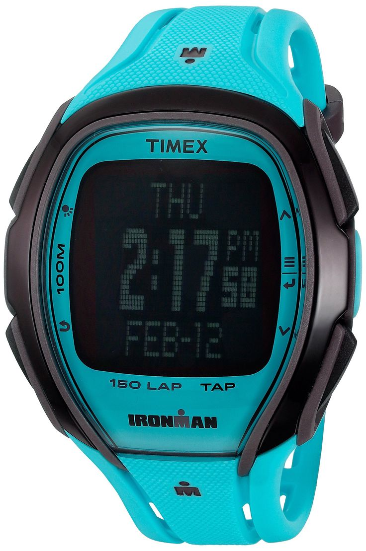 Timex Unisex TW5M00600 Ironman Sleek 150 TapScreen Full-Size Neon Blue Resin Strap Watch. TapScreen Technology Controls Stopwatch and Timers. Easy To Use Menu Based System. Stopwatch with 150 Lap Memory, Interval Timer, Target Pacer, & Hydration Alerts. Durable Resin Strap with Buckle Closure. Indiglo Light-Up Watch Dial. Water resistant to 100m (330ft): in general, suitable for swimming and snorkeling, but not diving.