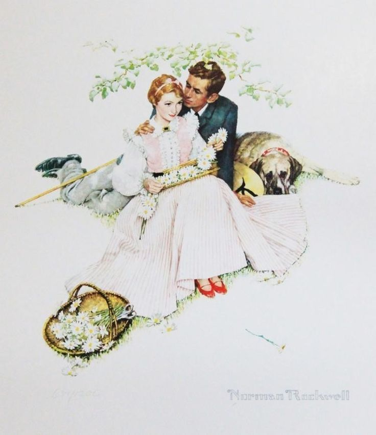 LOT 700 Seller's Estimate: USD 150 - 300 Photomechanical graphic  Four Ages of Love: Flowers in Tender Bloom  by Norman Rockwell (UNFRAMED). A18J2 Payment: The buyer is responsible for paying the sell