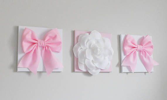 Jasmine Flower Wall Art Set  Light Pink Wall Canvas Art