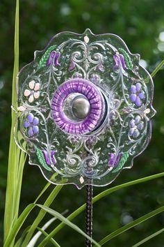 Glass Plate Garden Art Yard Art Sun Catcher –