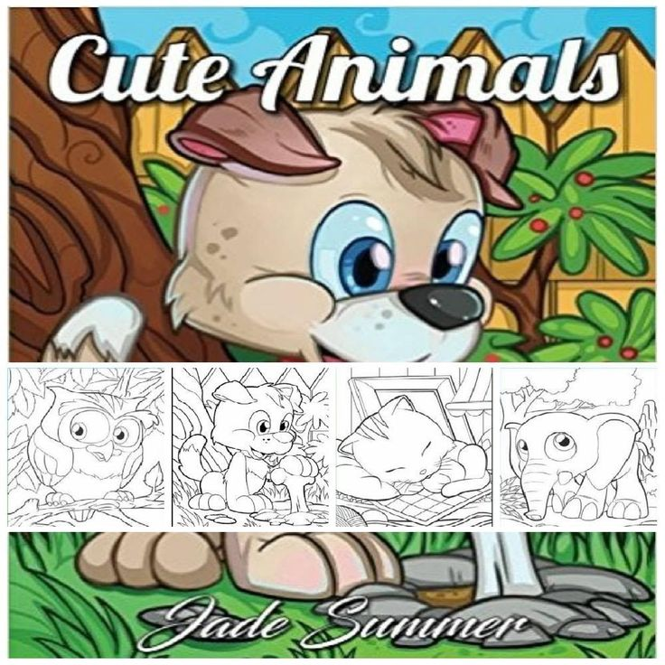 Creative Adult Coloring Book Cute Adorable Animals Design Fun Easy & Relax Pages…