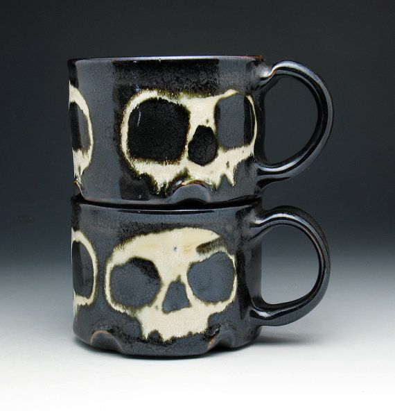 Skull Coffee Mugs, Bronze Glazed Stoneware Skull Mugs Set of Two