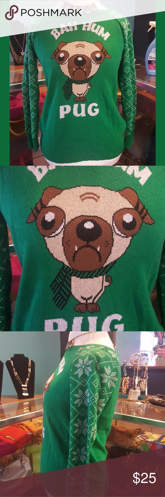 Youth xl or Juniors S LOL Vintage Christmas Youth xl or Juniors S LOL Vintage Christmas bah hum pug Sweater How cute is this Christmas pug sweater! Perfect for your holiday party or ugly Christmas sweater party the tag is a youth extra large but measurements also correspond with an adult Juniors small so please check the measurements.  . The condition of this item is in my honest opinion but please don't take my word for it look at all of the pictures and ask any and all questions before you…