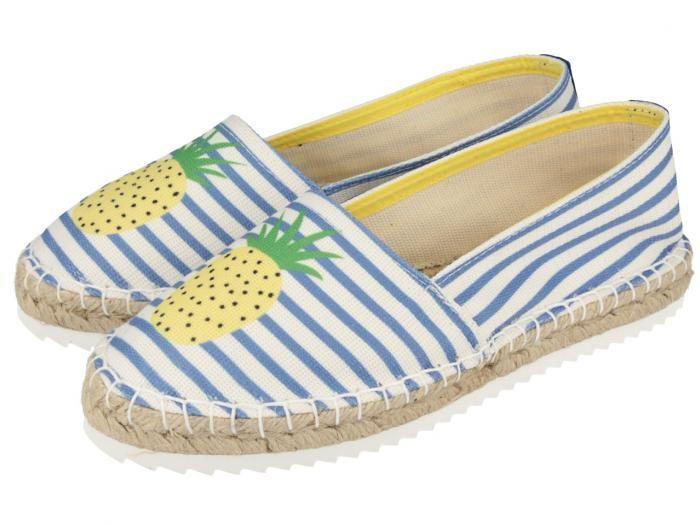 Diluna / Alpargatas de mujer con estampado a rayas azules y blancas y divertido dibujo de