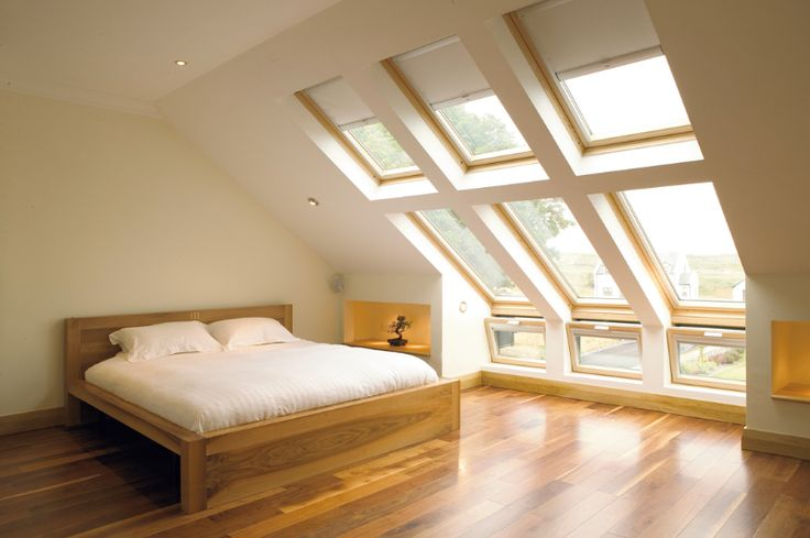 wood floors, wood furniture and white walls make the upstairs so beautiful. Imagine this design with a dormer instead of skylight. Peaceful.