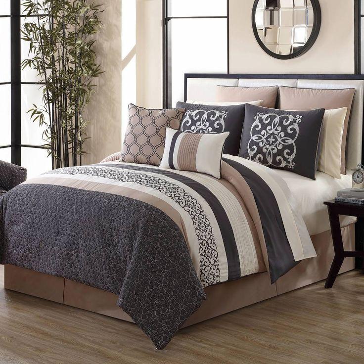 Canton 12-Piece Comforter Set in Grey/Tan