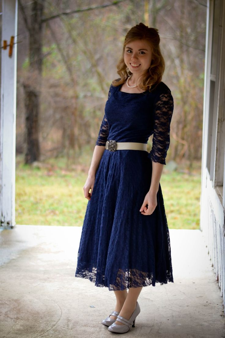 navy dresses with sleeves for weddings | navy lace dress with square neckline, sheer sleeves, circle skirt ...