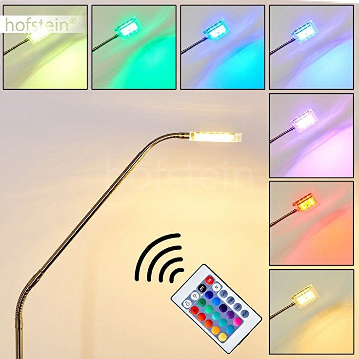 LED Stehleuchte Fansen Aus Metall Chrom Nickel Matt Mit Farbwechsler Und Fernbedienung