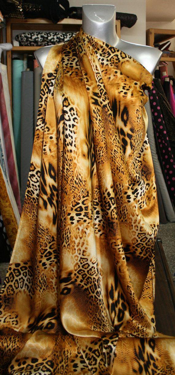 animal print leopard print silk satin fabric by BodikianTextiles
