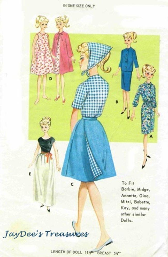 2892 Vintage Doll Clothing Pattern fits Barbie Wardrobe | Crafts, Sewing, Sewing Patterns | eBay!