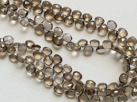 Smoky Quartz Faceted Heart Beads Smoky Quartz by gemsforjewels