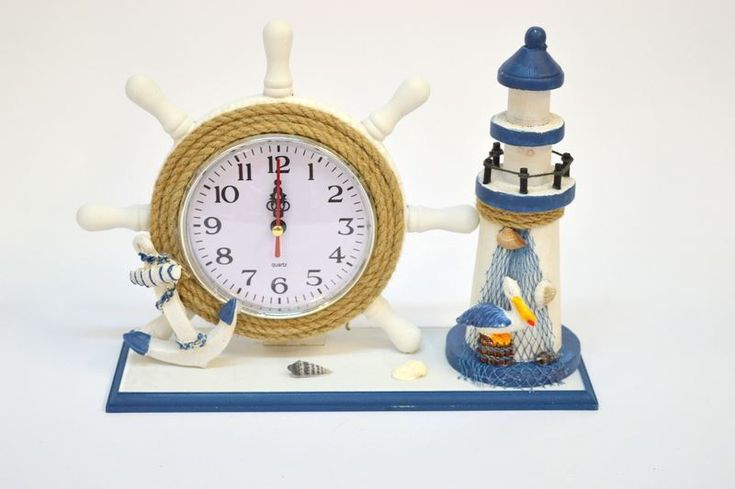 Decor Nautical Wood Ship Boat Steering Wheel Lighthouse Desk Table Shelf Clock | Collectibles, Decorative Collectibles, Nautical Décor | eBay!