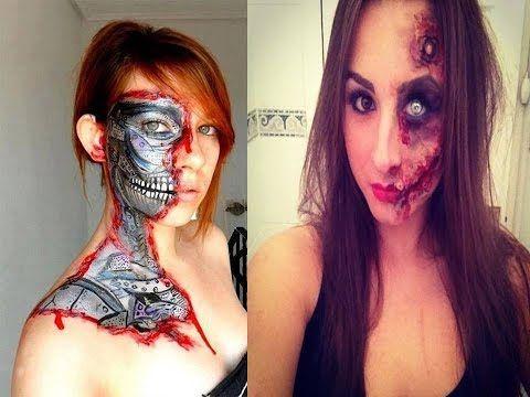 halloween half face makeup scary eith beauty  half face