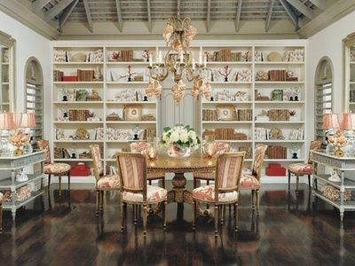 Dining room lined with bookshelves and elegant dumbwaitersLibraries, Decor, Dining Rooms, Charles Faudree, Coral, Diningroom, Bookcas, French Country, Design