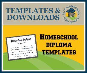 High School Homeschool Diploma Templates via Let's Homeschool High School